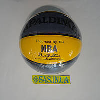 М'яч баскетбольний м'яч для баскетболу Spalding PU жовто-синій, смуга, розмір 7