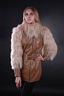 Кожаная утепленная куртка с мехом ламы, фото 1