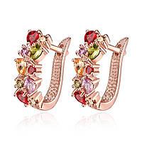Позолоченные вечерние женские серьги бижутерия с разноцветными кристаллами Камелия 174095
