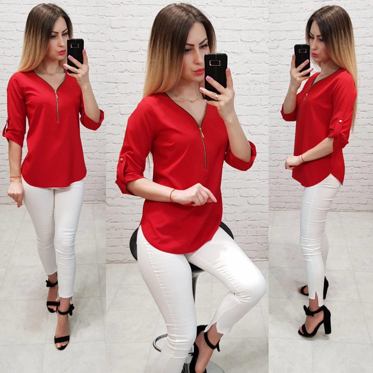 Блуза женская, софт, модель 158, красная