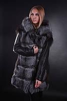 Пальто-куртка-жилет  меховая из чернобурки с кожаными съемными рукавами, фото 1