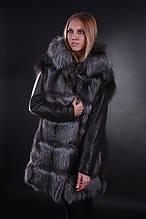 Пальто-куртка-жилет  меховая из чернобурки с кожаными съемными рукавами