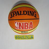 Мяч баскетбольный резиновый Spalding коричневый, размер 6, полоса