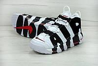 Кроссовки мужские белые с черным Nike Air More Uptempo Найк Аир Мор Аптемпо, фото 1