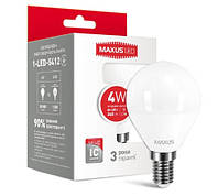 Лампа LED шарик MAXUS G45 F 4W 4100K 220V E14 1-LED-5412