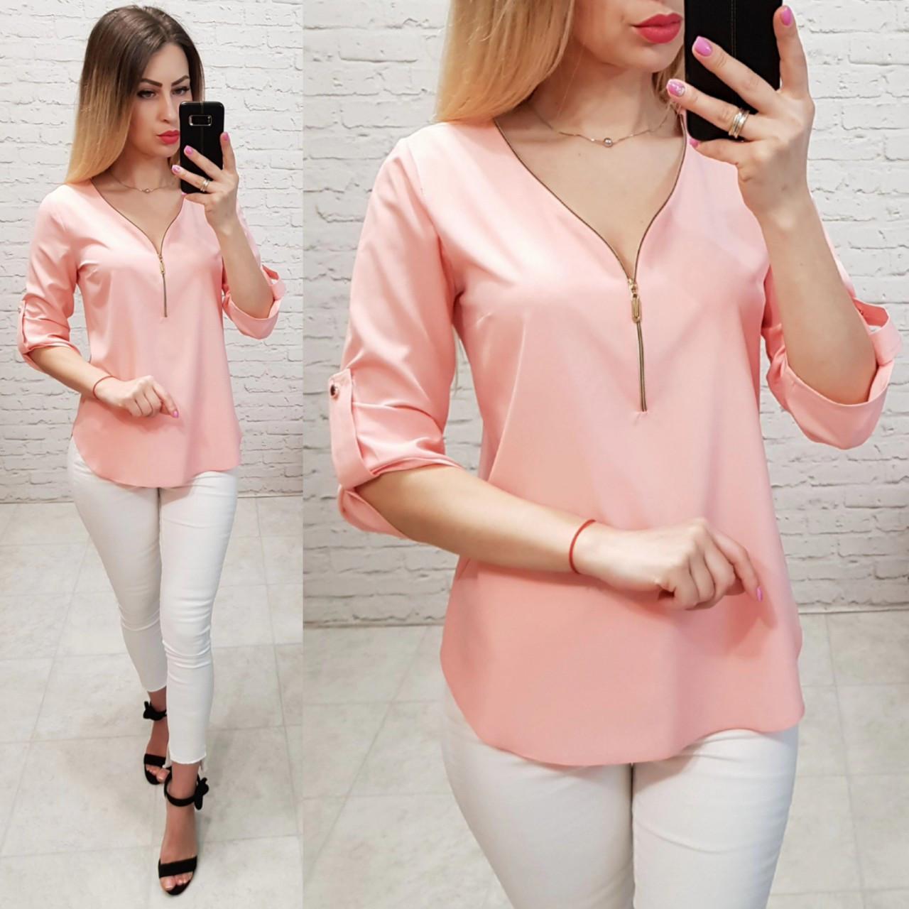 Блуза жіноча, софт, модель 158, рожева пудра