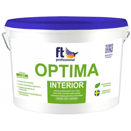 Краска латексная для стен и потолков 1л. FT Professional Optima Interior