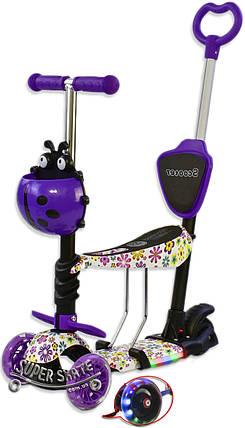 Трехколесный Самокат/Беговел 5 в 1 Scooter - С родительской ручкой -  Фиолетовые Цветочки, фото 2