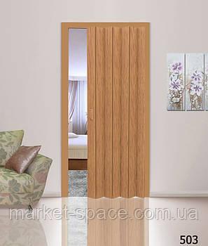 Дверь гармошкой глухая. Цвет: бук №503 2030мм/1000мм/6мм, фото 2