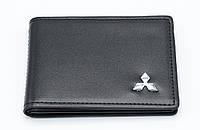Кожаная обложка для прав Carrs с логотипом MITSUBISHI Premium черная