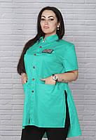 Асимметричная женская рубашка супер батал, фото 1