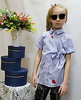 Летняя рубашка  для девочки  код 804 , размеры на рост от 122 до 140 возраст от 6 до 10 лет, фото 1