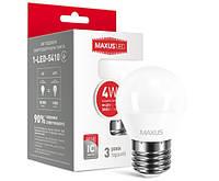 Лампа LED шарик MAXUS G45 F 4W 4100K 220V E27 1-LED-5410