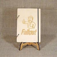 Скетчбук Fallout. Блокнот с деревянной обложкой. B6