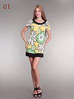 Платье туника трикотаж цветы, фото 1