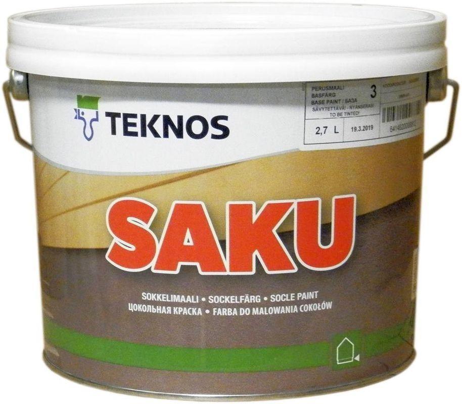 Водорозчинна фарба для цоколя Teknos Saku, Білий, 2.7 л