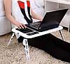 Cтолик для ноутбука с охлаждением 2 USB кулерами LD 09 E-TABLE, подставка столик для ноутбука, фото 5