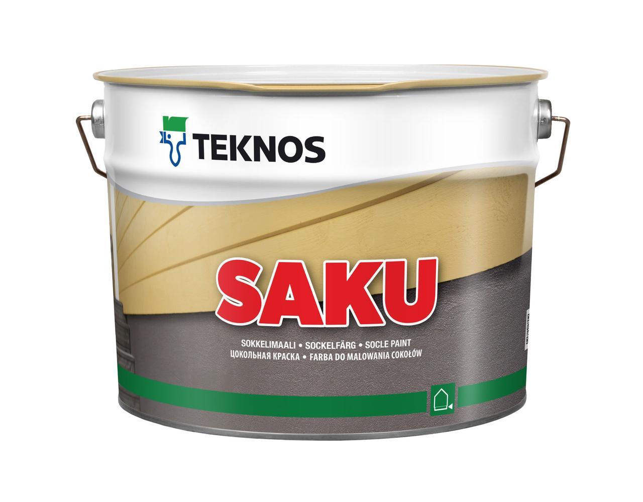 Водорозчинна фарба для цоколя Teknos Saku, Білий, 9 л