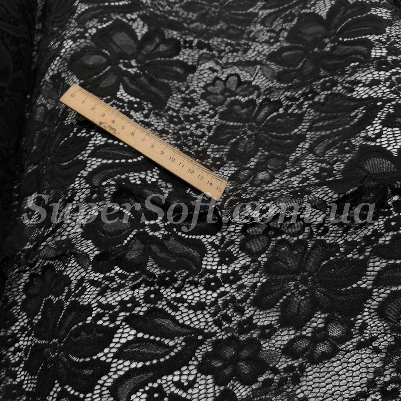 Ткань гипюр стрейч черный с фестоном