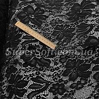 Ткань гипюр стрейч черный с фестоном, фото 1