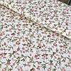 Тканина скатертная жакардова з квіточками на білому тлі, з шириною 150 см