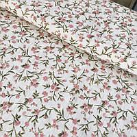 Тканина скатертная жакардова з квіточками на білому тлі, з шириною 150 см, фото 1