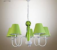 Люстра металлическая с салатовыми абажурами для зала,спальни, детской 17105-1