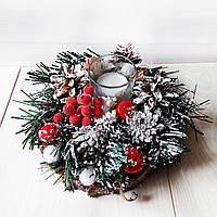 Новогодний подсвечник на спиле дерева с хвоей и шишками. Рождественский декор ручной работы, фото 1