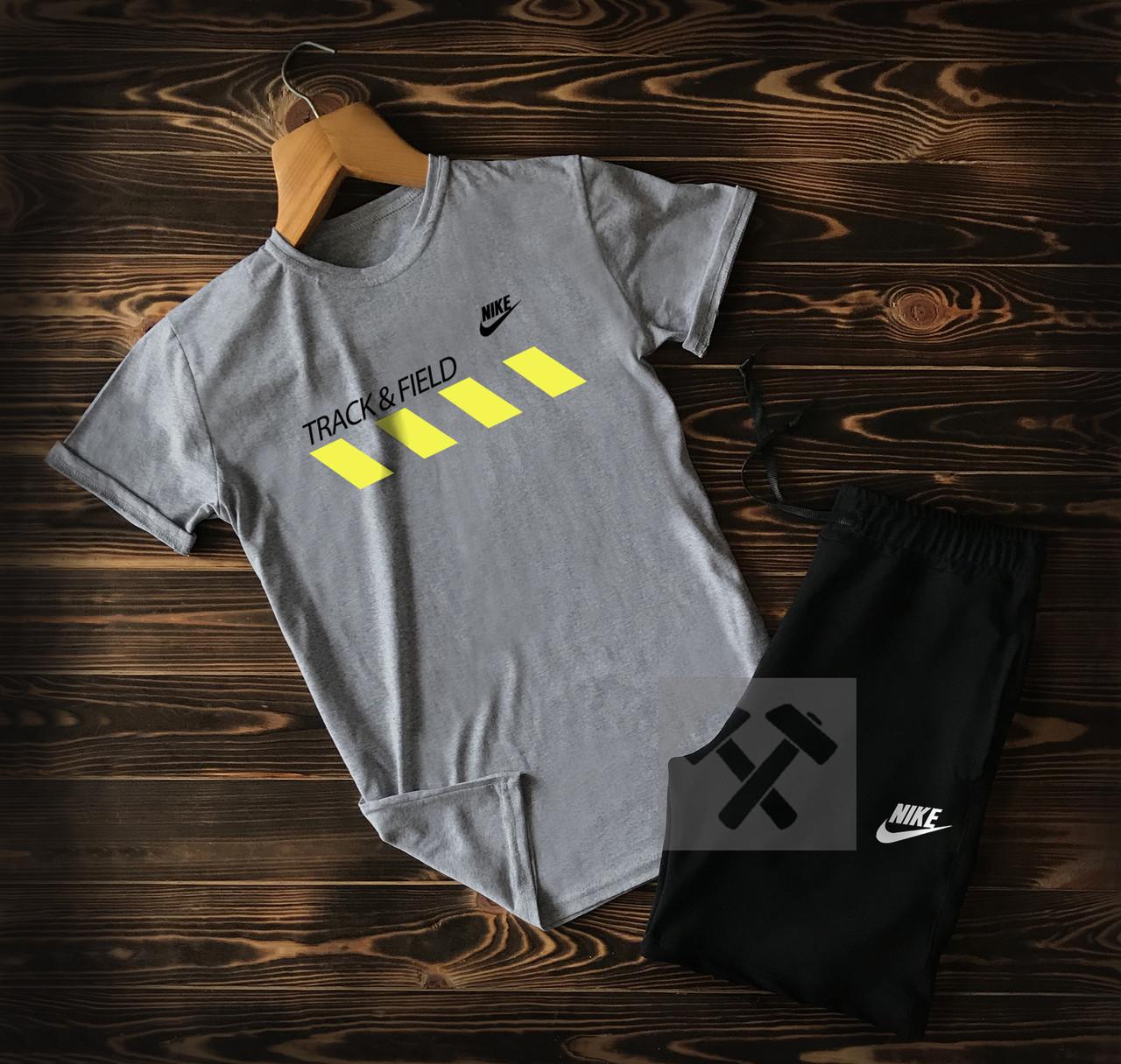 Летний мужской спортивный костюм Track Field черно-серого цвета (шорты и футболка Найк)