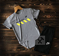 Летний мужской спортивный костюм Nike Track Field черно-серого цвета