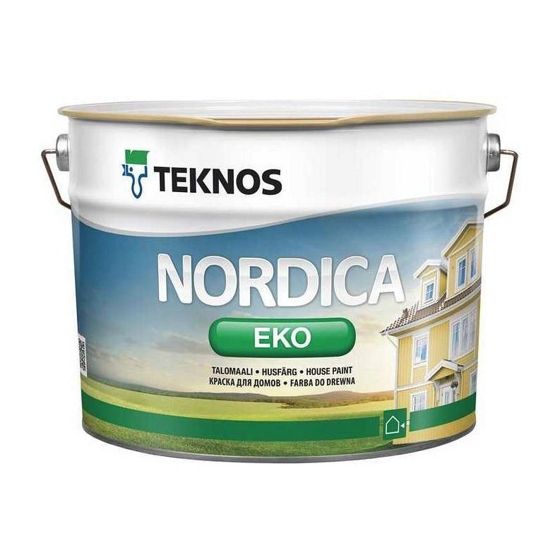 Водорозчинна фарба зовнішніх дерев'яних поверхонь Teknos Nordika Eko, Білий, 9 л