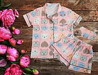 Женская атласная пижамка футболка,шорты,повязка