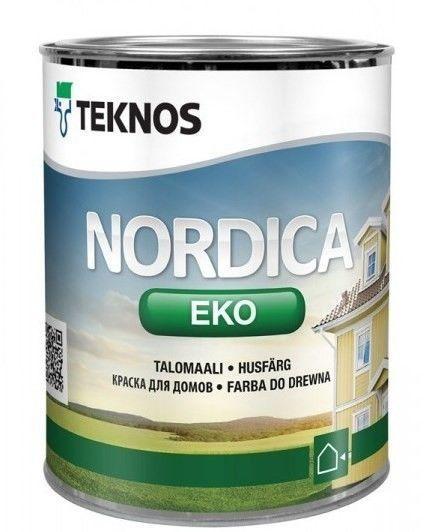 Водорозчинна фарба зовнішніх дерев'яних поверхонь Teknos Nordika Eko, Білий, 0.9 л