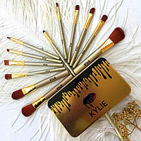 Профессиональный набор кистей для макияжа Kylie Jenner Make-up brush Gold set 12 шт в металлической косметичке