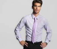 Рубашка мужская белая в фиолетовую полоску39р