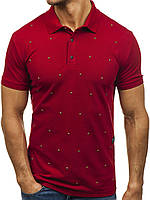 Мужская футболка поло бордовая