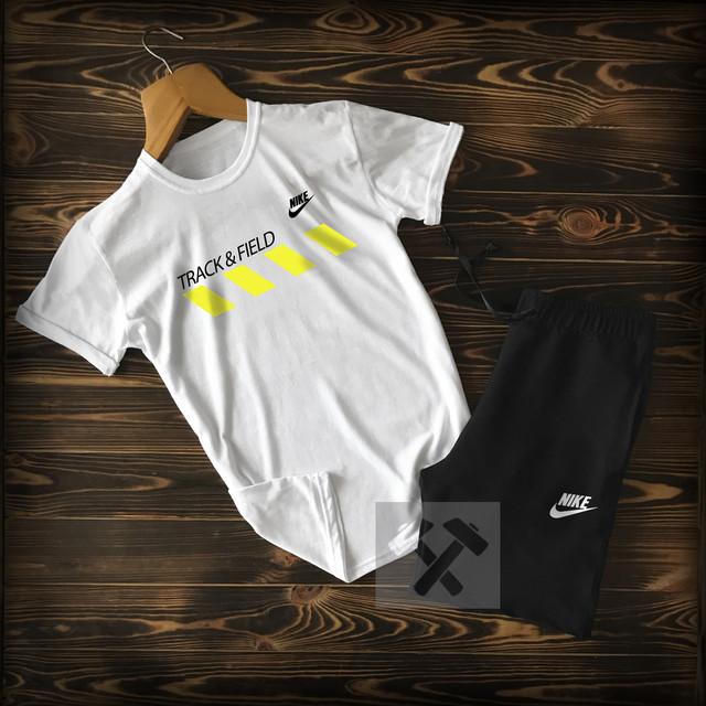Спортивный костюм футболка + шорты Nike Track Field черно-белого цвета
