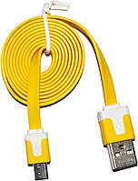 Плоский micro-USB кабель Желтый