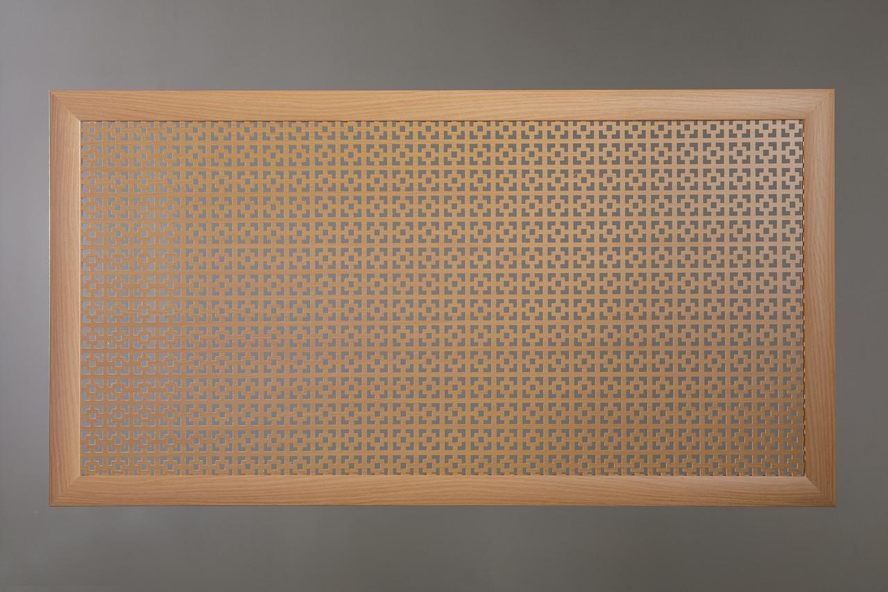 "Решетка на чугунную батарею ""Стандарт"", 68 см х 128 см, цвет бук"