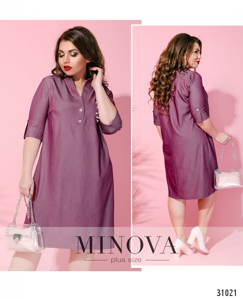 Платье – рубашка с декорированным нагрудным кармашком размеры с 50 по 60