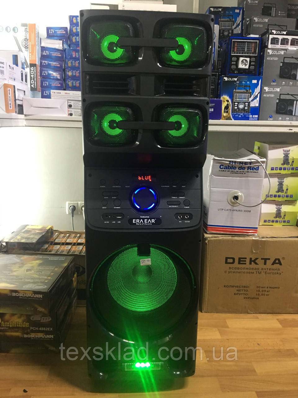 Портативная акустика с микрофонами ERA E-12 /180W (USB/Bluetooth/Пульт ДУ/FM)