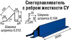Снегозадержатель с ребром жёсткости. РЕ 25 мк. 0,45 мм.