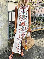 Платье длинное летнее льняное с оригинальной вышивкой. Цвет на выбор. Большие и стандартные размеры , фото 1