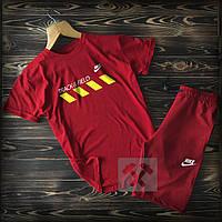 Летний мужской спортивный костюм Nike Track Field красного цвета (Найк шорты и футболка)