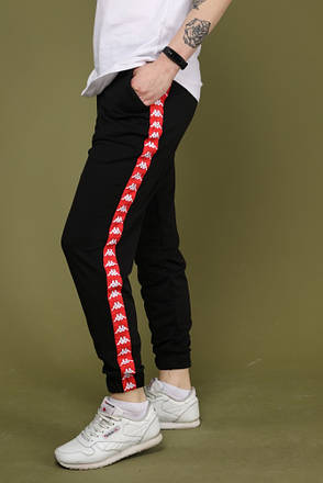 Мужские Спортивные Штаны чёрные с красным лампасом Карра, фото 2