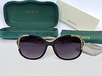 Женские солнцезащитные очки с поляризацией в стиле GUCCI (604) black , фото 1