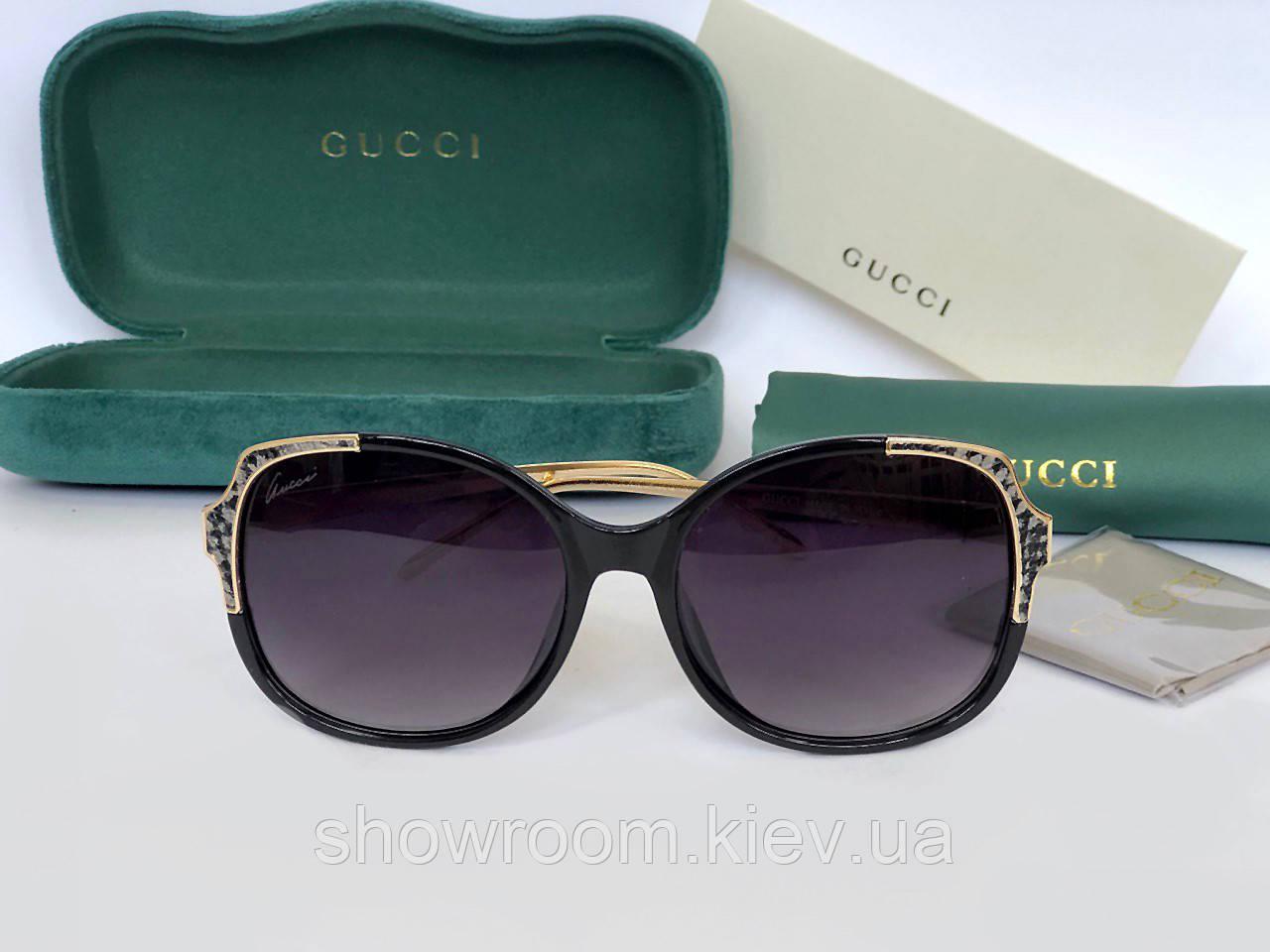 Женские солнцезащитные очки с поляризацией в стиле GUCCI (604) black