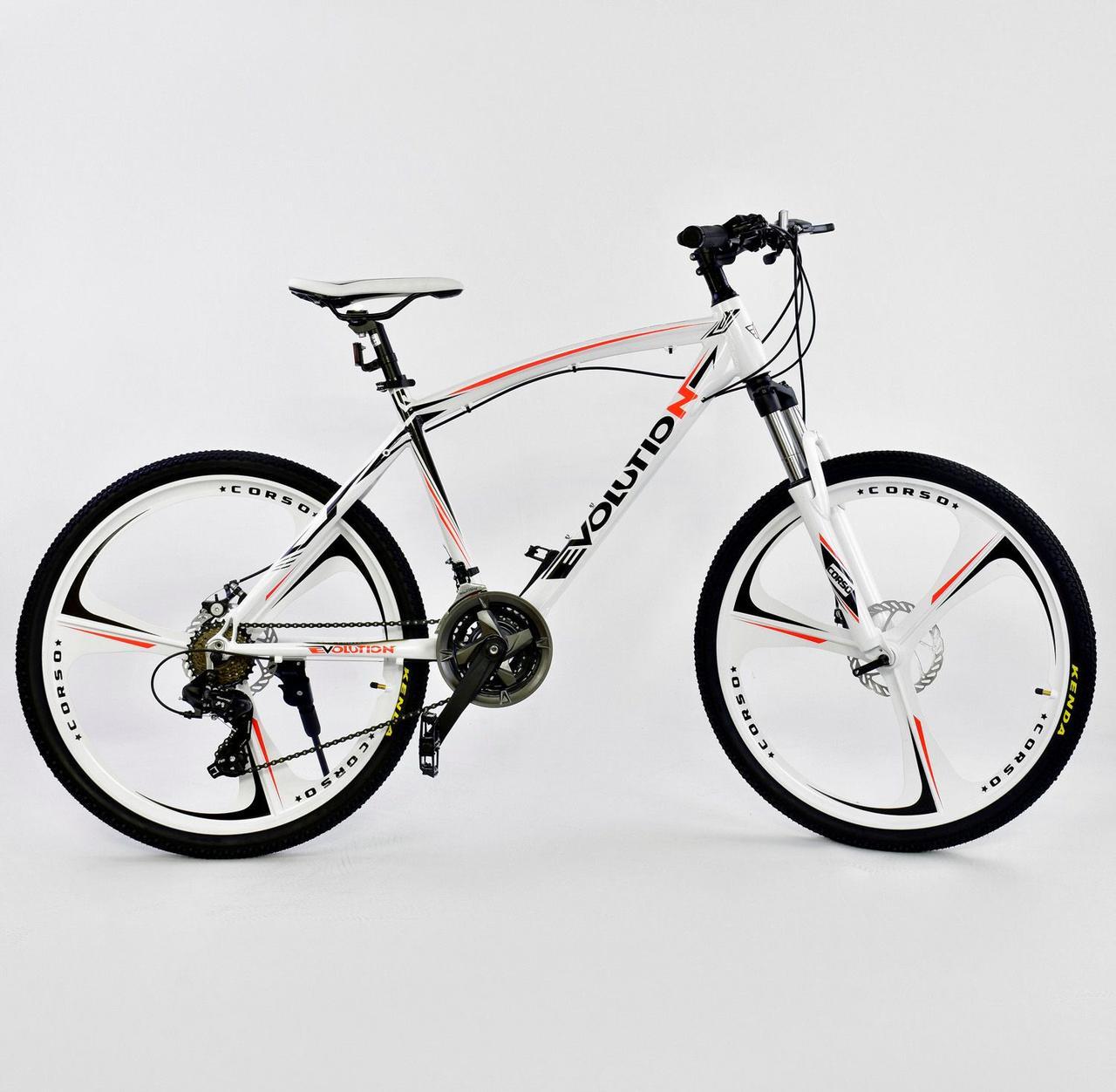 """Велосипед Спортивный CORSO 26""""дюймов JYT 007 - 9070 WHITE EVOLUTION Алюминий, 24 скорости"""
