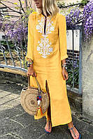 Плаття довге літнє лляне з оригінальною вишивкою. Колір на вибір. Великі і стандартні розміри, фото 1