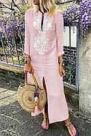 Платье длинное летнее льняное с оригинальной вышивкой. Цвет на выбор. Большие и стандартные размеры, фото 1